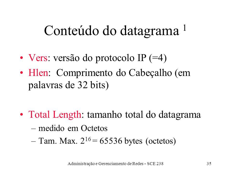 Administração e Gerenciamento de Redes - SCE 23835 Conteúdo do datagrama 1 Vers: versão do protocolo IP (=4) Hlen: Comprimento do Cabeçalho (em palavras de 32 bits) Total Length: tamanho total do datagrama –medido em Octetos –Tam.