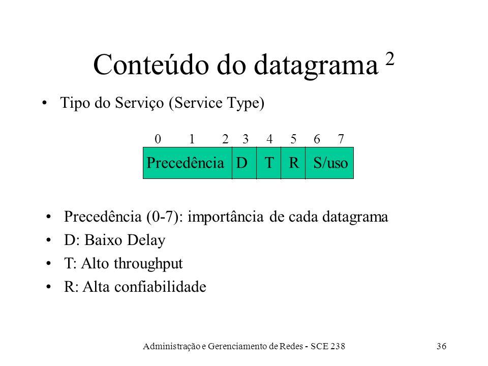 Administração e Gerenciamento de Redes - SCE 23836 Conteúdo do datagrama 2 Tipo do Serviço (Service Type) Precedência 0 1 2 3 4 5 6 7 DTRS/uso Precedência (0-7): importância de cada datagrama D: Baixo Delay T: Alto throughput R: Alta confiabilidade