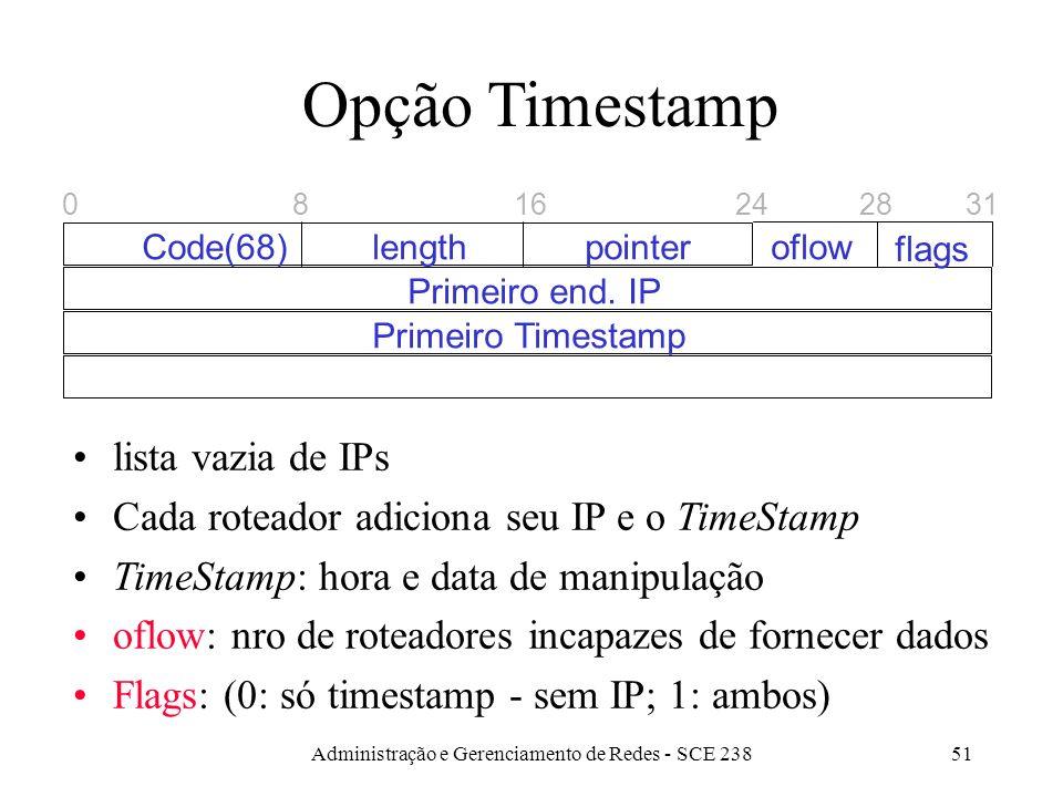 Administração e Gerenciamento de Redes - SCE 23851 Opção Timestamp lista vazia de IPs Cada roteador adiciona seu IP e o TimeStamp TimeStamp: hora e data de manipulação oflow: nro de roteadores incapazes de fornecer dados Flags: (0: só timestamp - sem IP; 1: ambos) 0 Code(68)lengthpointer Primeiro end.