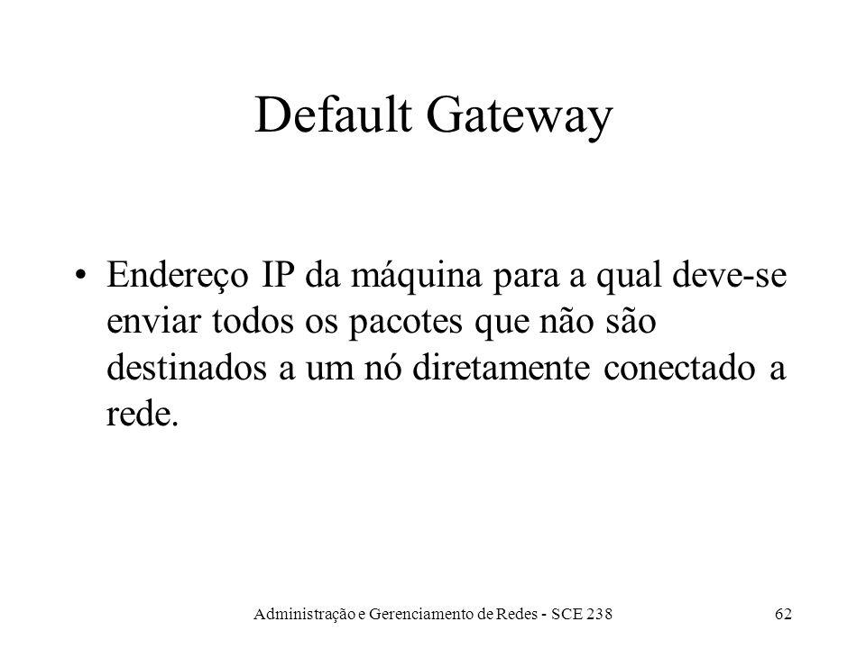 Administração e Gerenciamento de Redes - SCE 23862 Default Gateway Endereço IP da máquina para a qual deve-se enviar todos os pacotes que não são destinados a um nó diretamente conectado a rede.