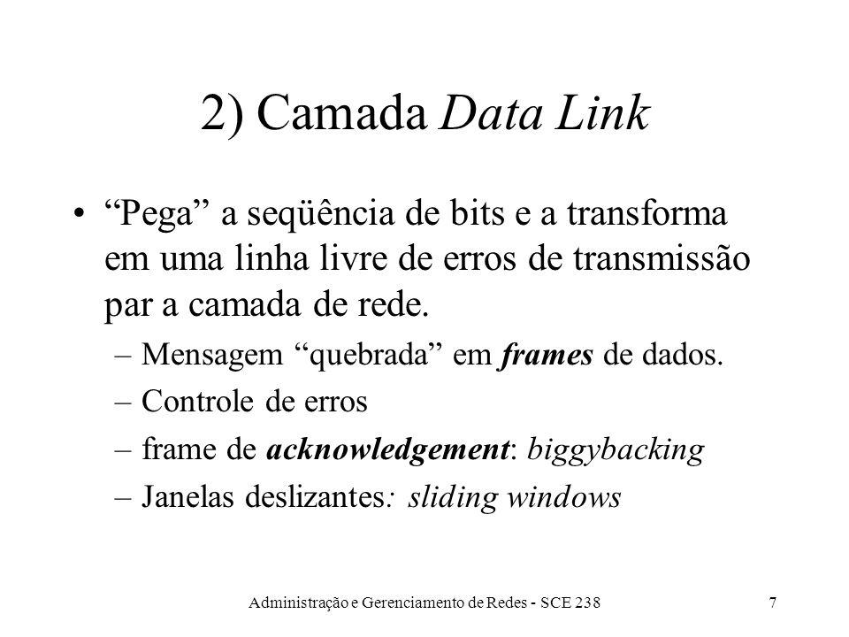 Administração e Gerenciamento de Redes - SCE 2387 2) Camada Data Link Pega a seqüência de bits e a transforma em uma linha livre de erros de transmissão par a camada de rede.
