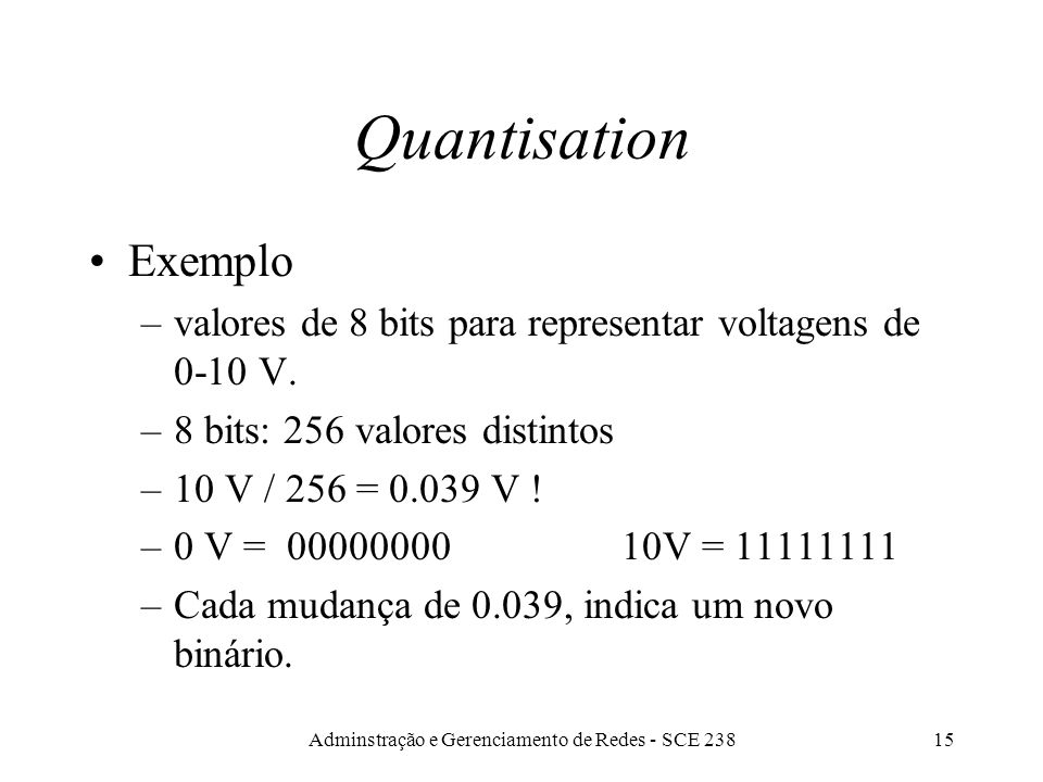 Adminstração e Gerenciamento de Redes - SCE 23814 Quantisation Resolução da conversão depende do número de bits: quanto mais bits, melhor a resolução.