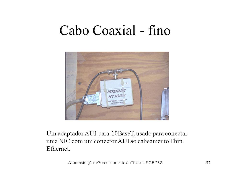 Adminstração e Gerenciamento de Redes - SCE 23856 Coaxiais Thin ethernet - 10Base2Thick ethernet - 10Base5