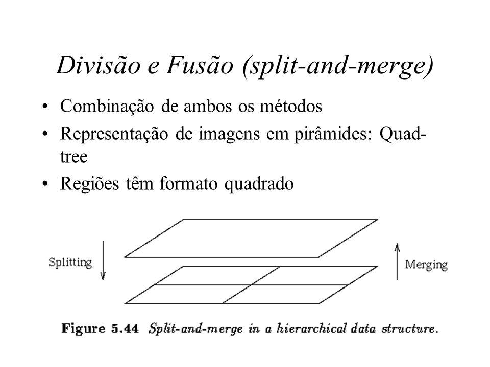 Divisão - Region Splitting Oposto de region merging Imagem representa uma única região –não satisfaz critério P(R i ) –objetivo: separar em regiões qu