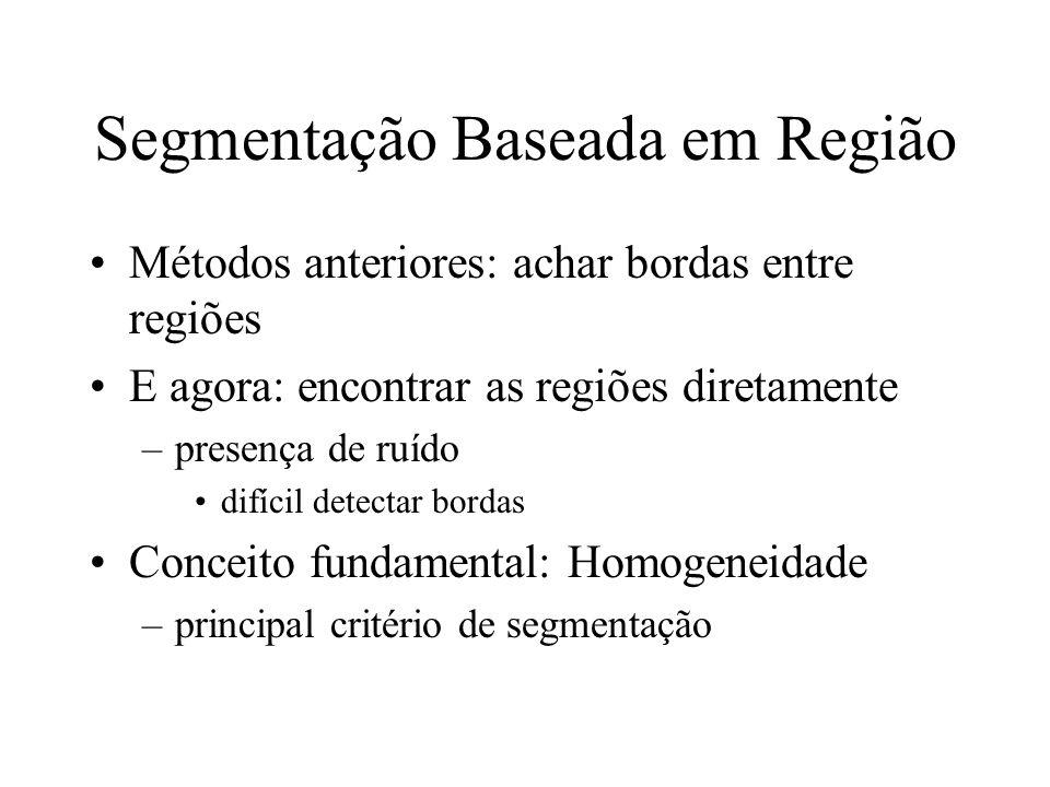 Segmentação Baseada em Região Métodos anteriores: achar bordas entre regiões E agora: encontrar as regiões diretamente –presença de ruído difícil detectar bordas Conceito fundamental: Homogeneidade –principal critério de segmentação