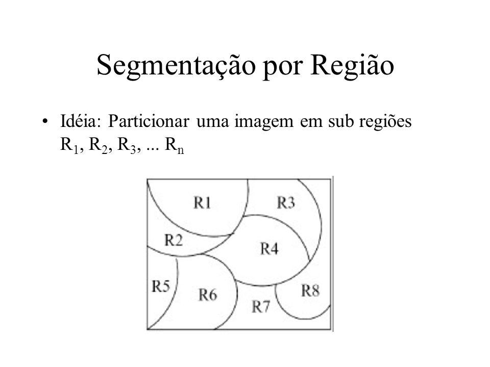 Sementes e Homogeneidade Como nós escolhemos a(s) semente(s) na prática –Depende da natureza do problema –Se alvos precisam ser detectados usando imageamento infra- vermelho por exemplo, escolha os pixels mais claros (mais quentes) –Sem um conhecimento a priori, calcule o histograma e escolha os valores de níveis de cinza dos picos mais fortes Como nós escolhemos o critério de similaridade (predicado).