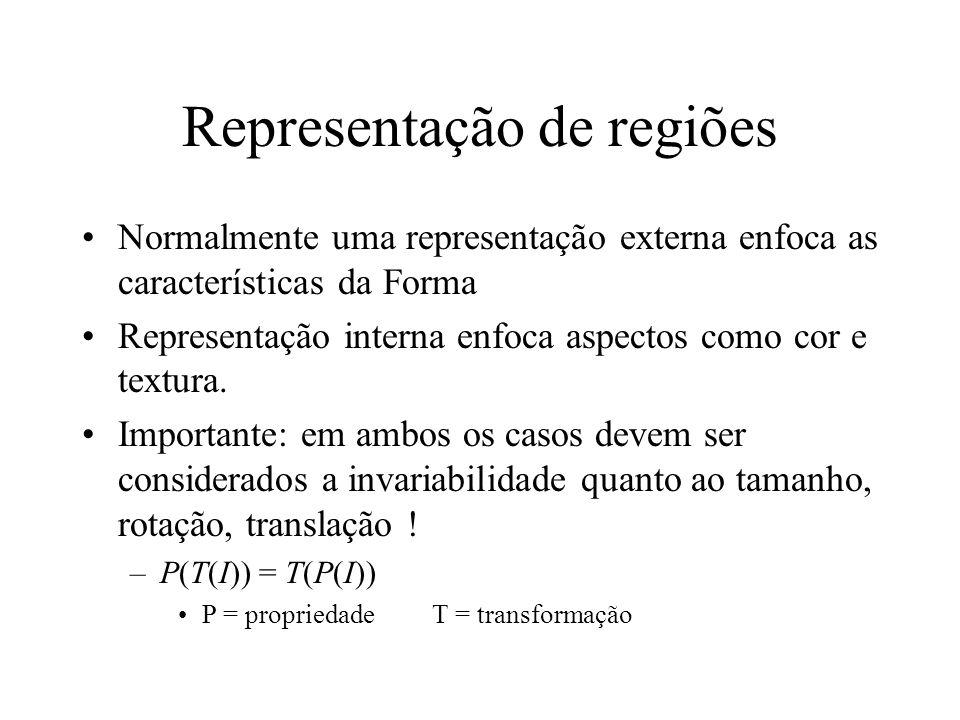 Representação de regiões Características externas –Contorno Características internas –pixels que compõem a região. Região representada por seu contorn