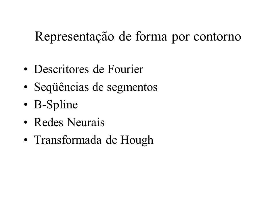 Representação de forma por contorno Chain Codes Representações geométricas –comprimento –curvatura –bending energy (energia de modelagem) –assinatura
