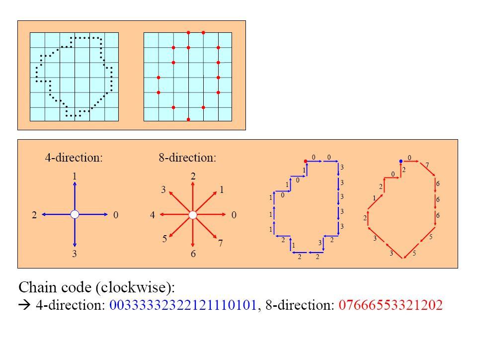 Chain Codes Representam um contorno por uma seqüência conectada de segmentos de retas com comprimento e direções específicas. Depende da conectividade