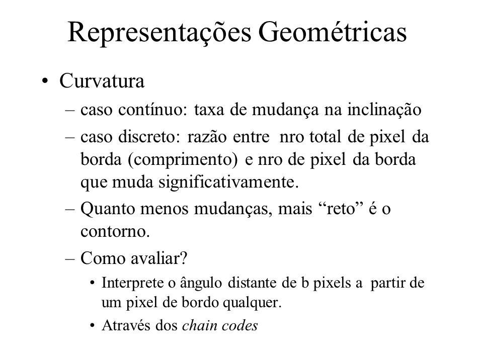 Representações Geométricas (Representações sensíveis à resolução da imagem) Comprimento do contorno –derivado do chain code: passos horizontais e vert
