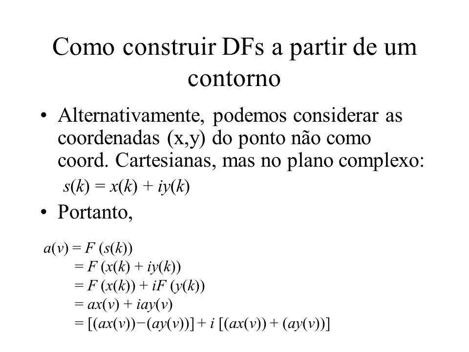 Podemos extrair TF de cada funcao: –ax(ν) = F (x(k)) –ay(ν) = F (y(k)) Estes dois espectros são os Descritores de Fourier Como construir DFs a partir