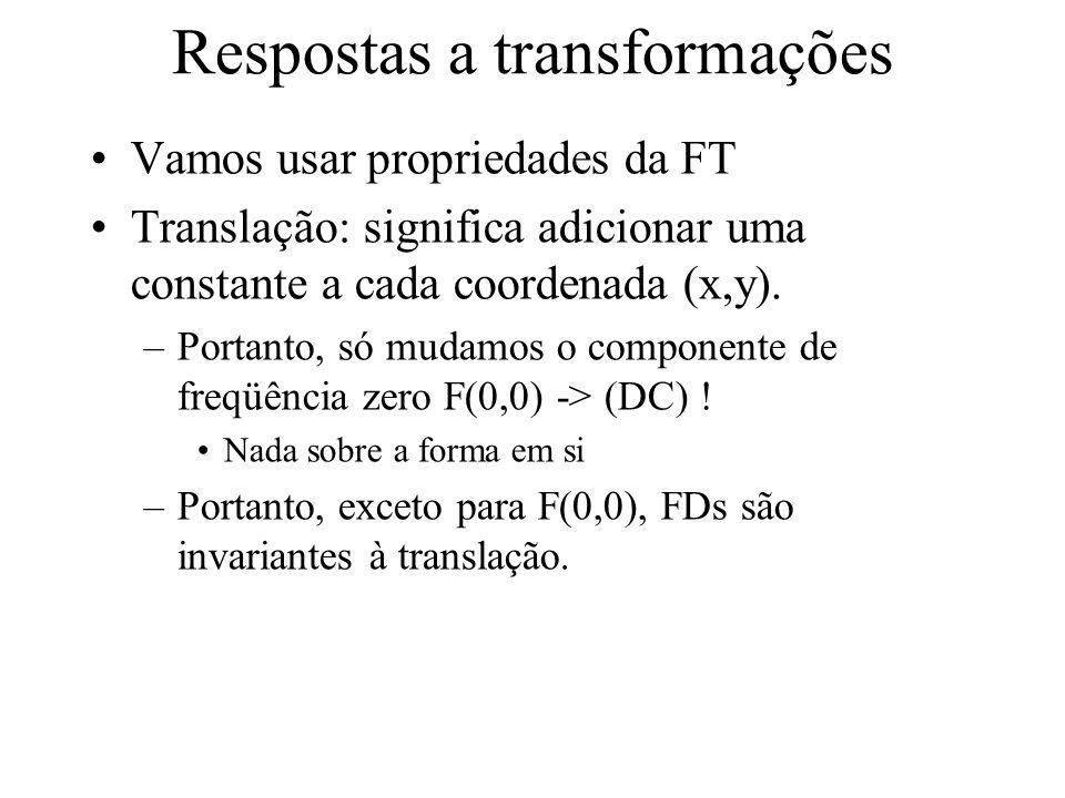 Propriedades (2) Se fizermos um low-pass nos FDs ? –Suavização –Os componentes de baixa freqüência capturam a forma geral do objeto –Se não usarmos to