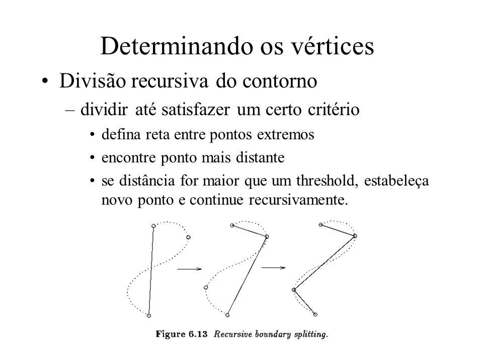 Seqüências de segmentos Determinando os vértices –utilizar medida de curvatura. –Tolerância de intervalo