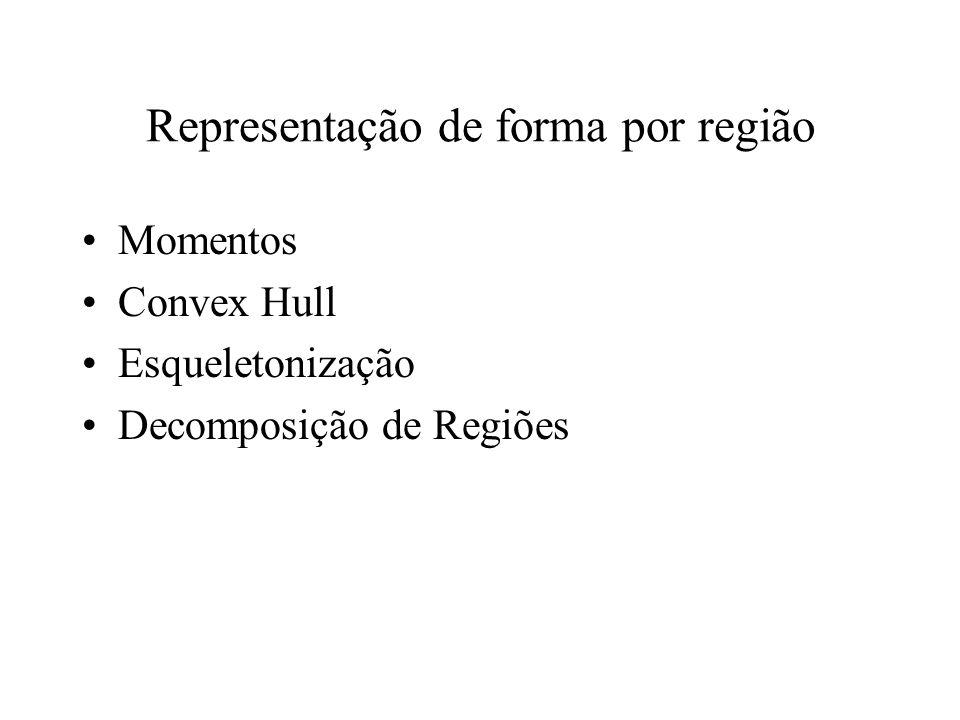 Representação de forma por região Descritores escalares –Área –Número de Euler –Projeção –Ecentricidade –Elongatedness, Rectangularity, Compactness, –