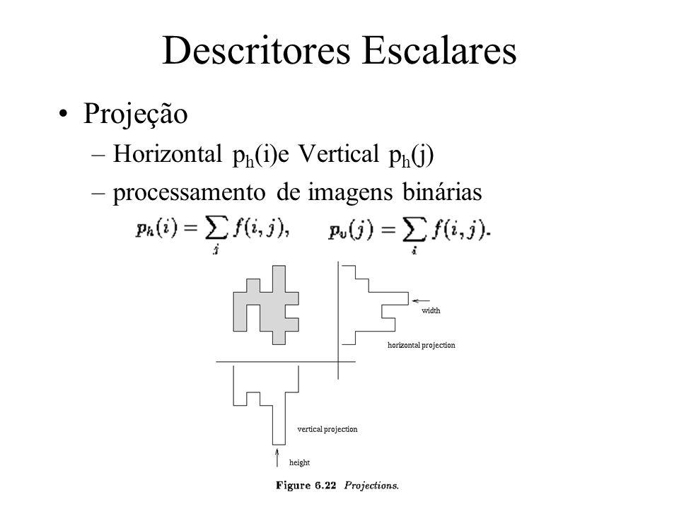 Descritores Escalares Número de Euler: propriedade topológica –topologia: estudo das propriedades de uma imagem que não são afetadas por qualquer defo