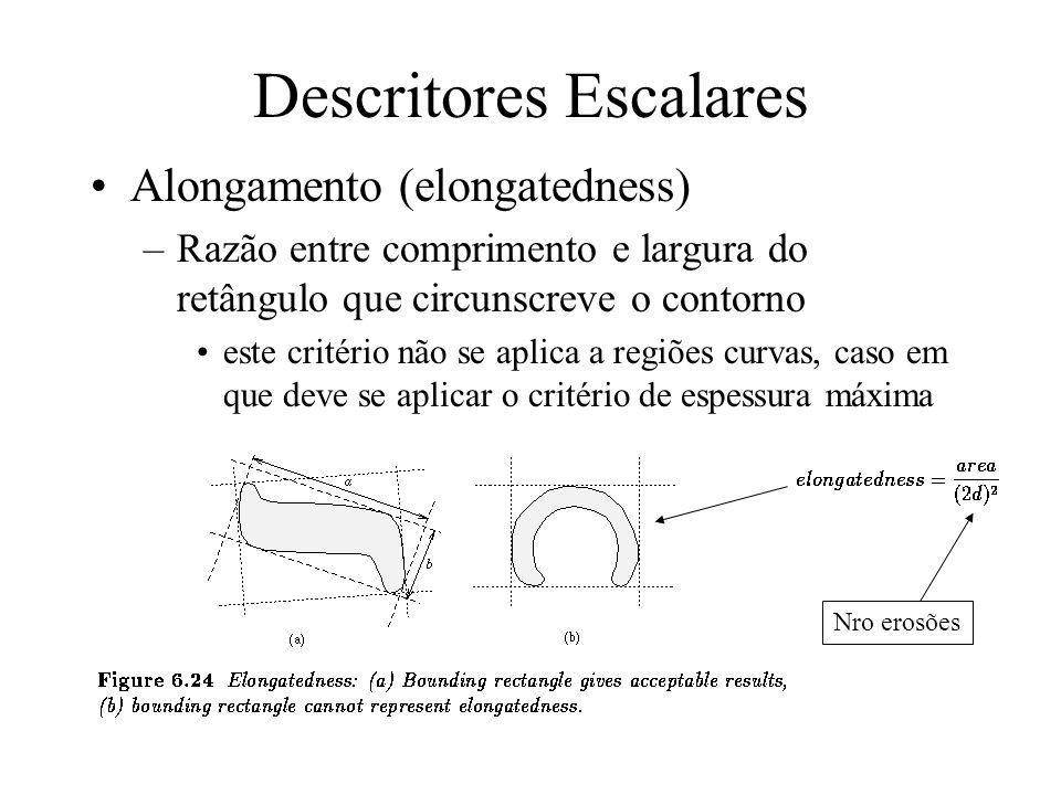 Descritores Escalares Excentricidade –razão entre o chord de comprimento máximo A e chord B (A e B perpendiculares) A B