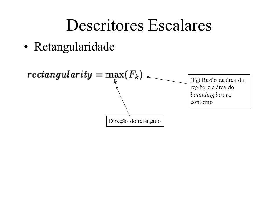 Alongamento (elongatedness) –Razão entre comprimento e largura do retângulo que circunscreve o contorno este critério não se aplica a regiões curvas,