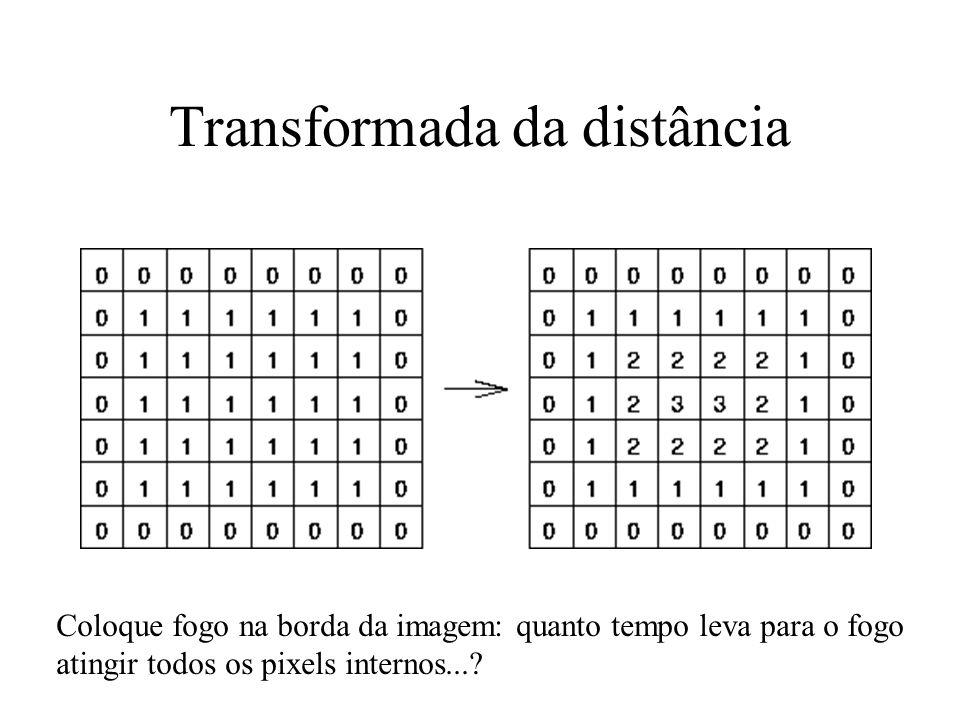Thinning O esqueleto por ser definido pela Medial Axis Transformation (MAT) –A MAT de uma região R com borda B p/ cada ponto p em R. encontre seu vizi