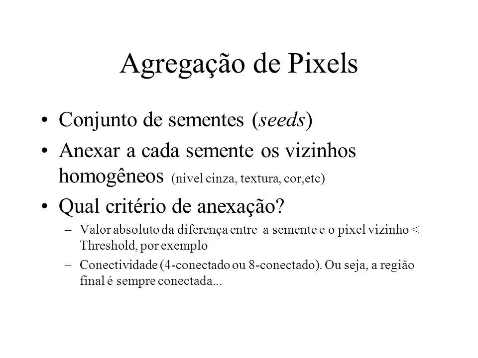 Métodos por Crescimento de Regiões Agregação de pixels Fusão (Merging) Divisão (splitting) Divisão e Fusão (split-and-merge)