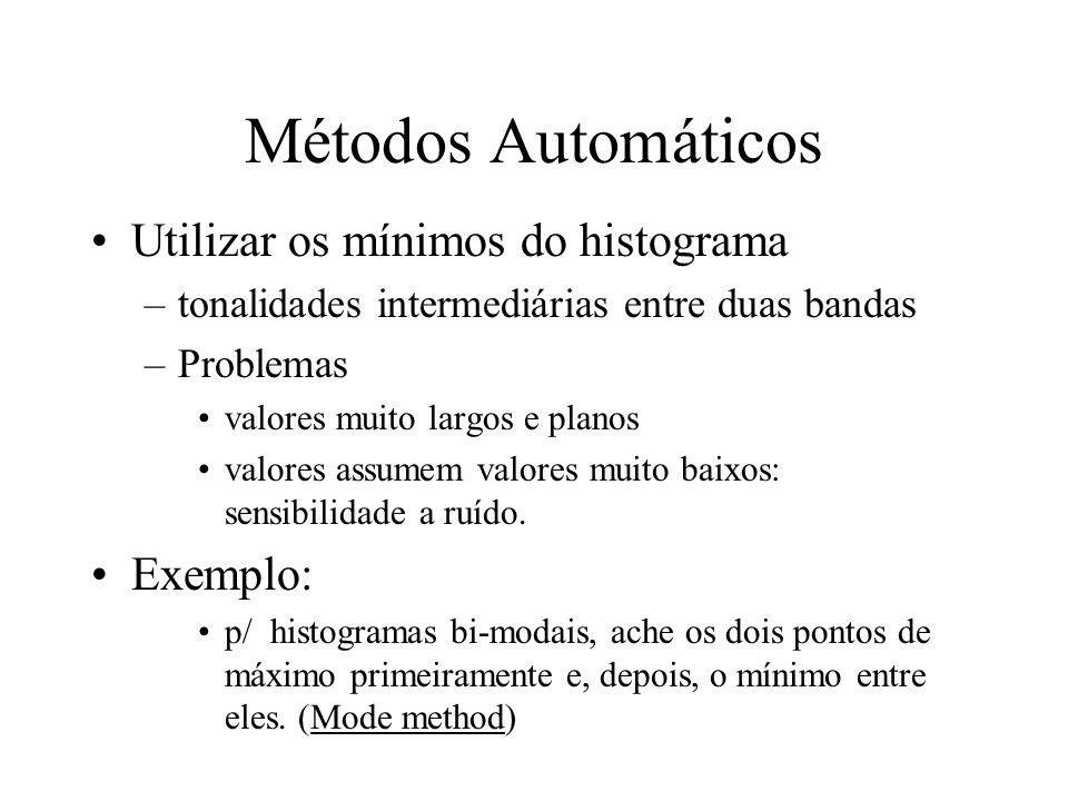 Detecção do Limiar (T) Tem-se informação a priori? Simples –exemplo: detecção de caracteres em um folha papel Análise do formato do histograma –bi-mod