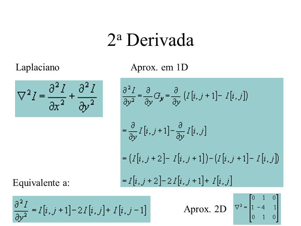 1 a Derivada Aprox. numérica Máscaras 1DMáscaras 2D