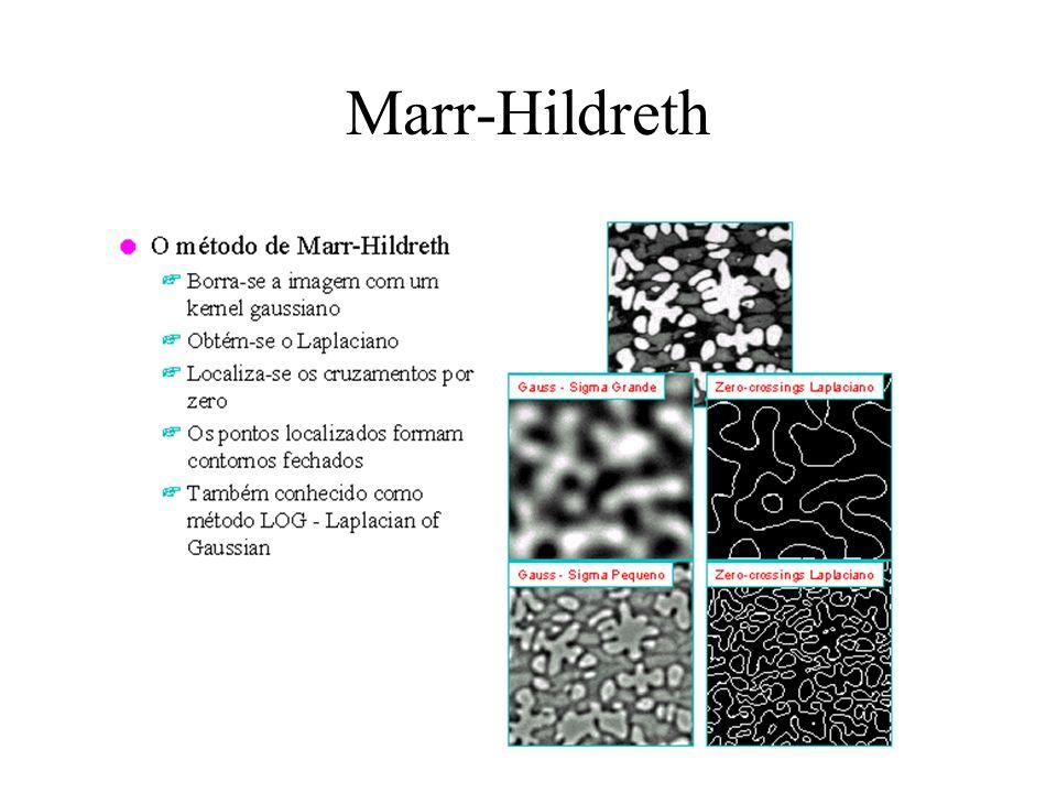 Marr-Hildreth A segunda derivada de f(x,y) suavizada –Operador Laplace isotrópico (não é direcional) –LOG (Laplace of Gaussian) Aproximações discretas