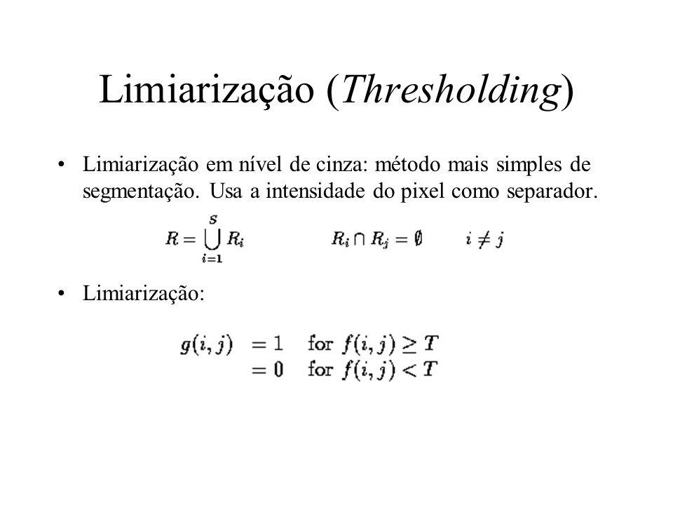 Limiarização (Thresholding) Limiarização em nível de cinza: método mais simples de segmentação.