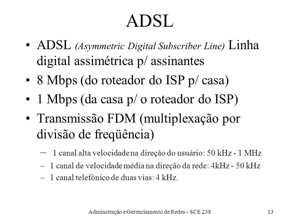 Adminstração e Gerenciamento de Redes - SCE 23812 Analógico x Digital Digital –Mais fácil de regenerar –menos infestado de interferências –Pode ser gr