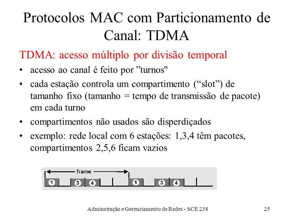 Adminstração e Gerenciamento de Redes - SCE 23824 Protocolos MAC: uma taxonomia Três grandes classes: Particionamento de canal –dividem o canal em ped