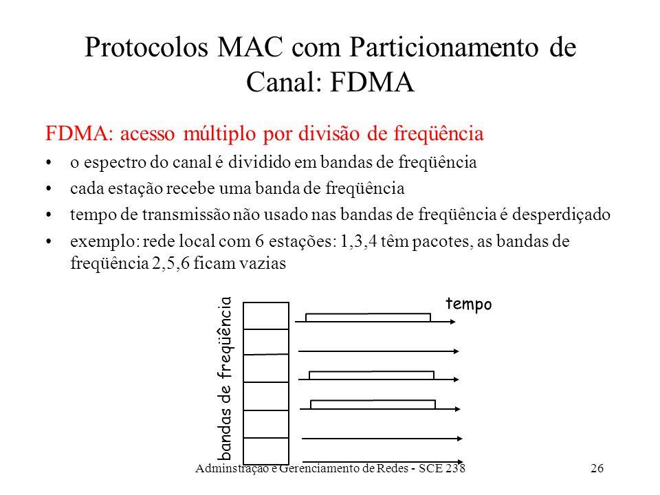 Adminstração e Gerenciamento de Redes - SCE 23825 Protocolos MAC com Particionamento de Canal: TDMA TDMA: acesso múltiplo por divisão temporal acesso