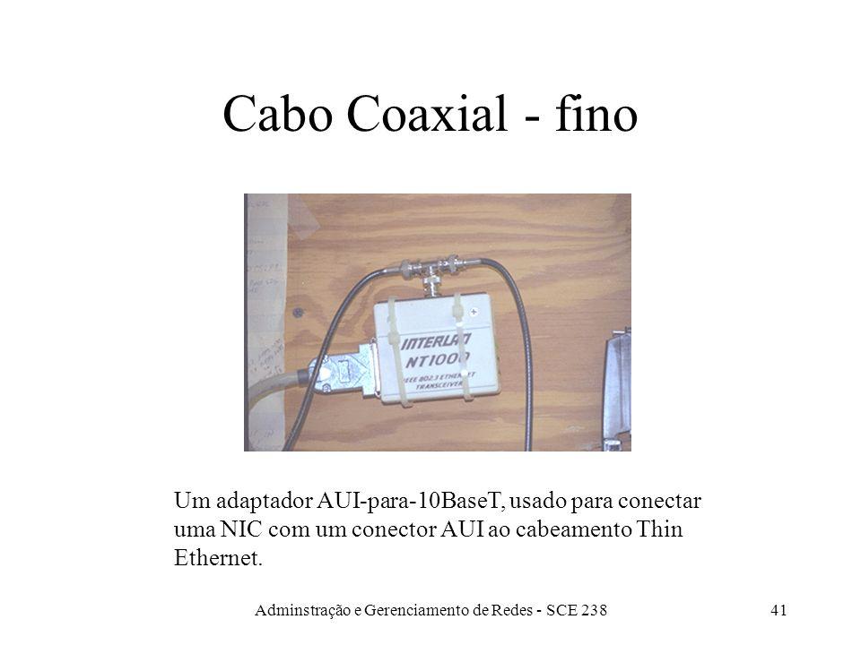 Adminstração e Gerenciamento de Redes - SCE 23840 Coaxiais Thin ethernet - 10Base2Thick ethernet - 10Base5