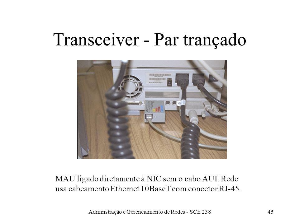 Adminstração e Gerenciamento de Redes - SCE 23844 Transceiver - Cabo Fino MAU ligado diretamente à NIC sem o cabo AUI. Rede usa cabeamento Ethernet 10