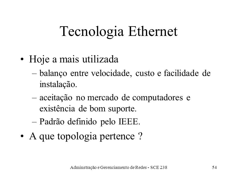 Adminstração e Gerenciamento de Redes - SCE 23853 Tecnologias e Topologias de Redes Tecnologias: como computadores enviam pacotes pela rede. (ethernet