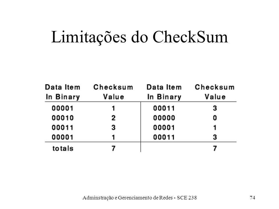 Adminstração e Gerenciamento de Redes - SCE 23873 CheckSum Dados são tratados como uma seqüência de inteiros sobre os quais é calculada uma soma.