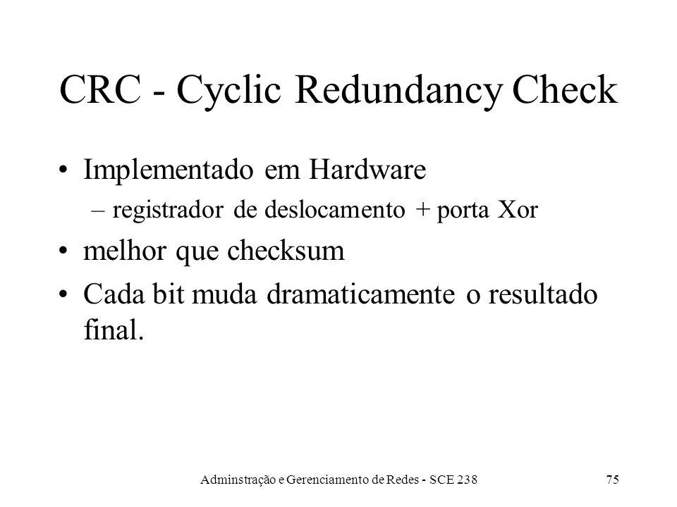 Adminstração e Gerenciamento de Redes - SCE 23874 Limitações do CheckSum