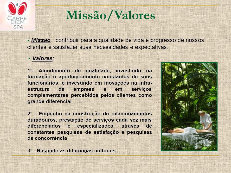 Missão/Valores Missão : contribuir para a qualidade de vida e progresso de nossos clientes e satisfazer suas necessidades e expectativas. 1°- Atendime