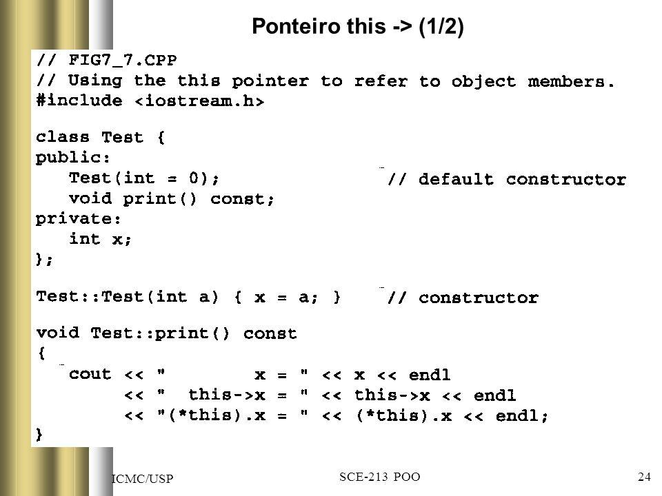 ICMC/USP SCE-213 POO 24 Ponteiro this -> (1/2)