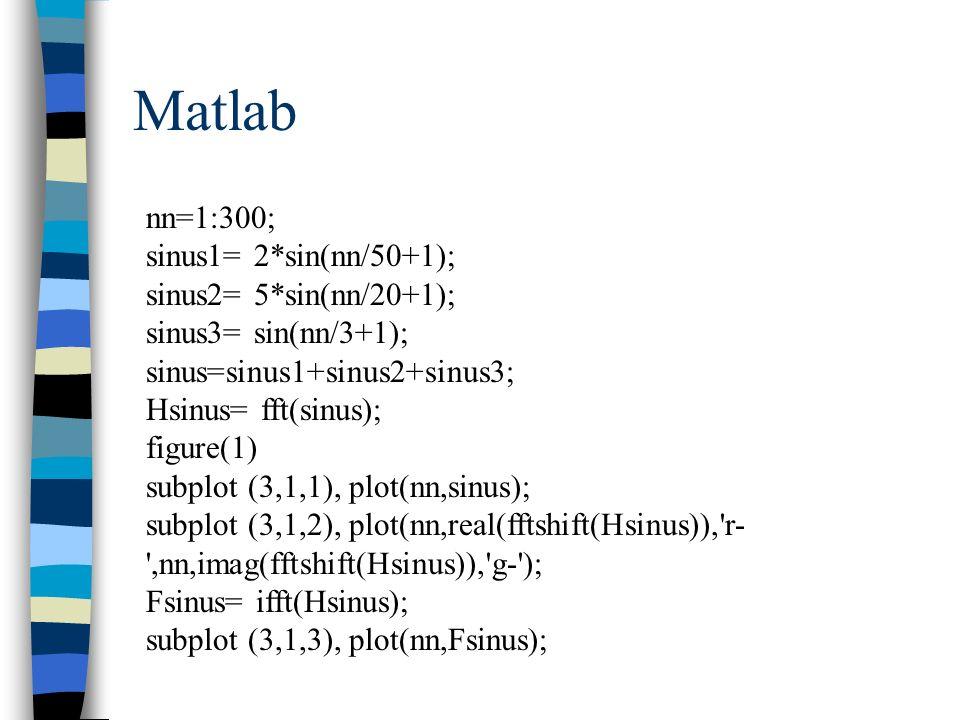 Matlab nn=1:300; sinus1= 2*sin(nn/50+1); sinus2= 5*sin(nn/20+1); sinus3= sin(nn/3+1); sinus=sinus1+sinus2+sinus3; Hsinus= fft(sinus); figure(1) subplo