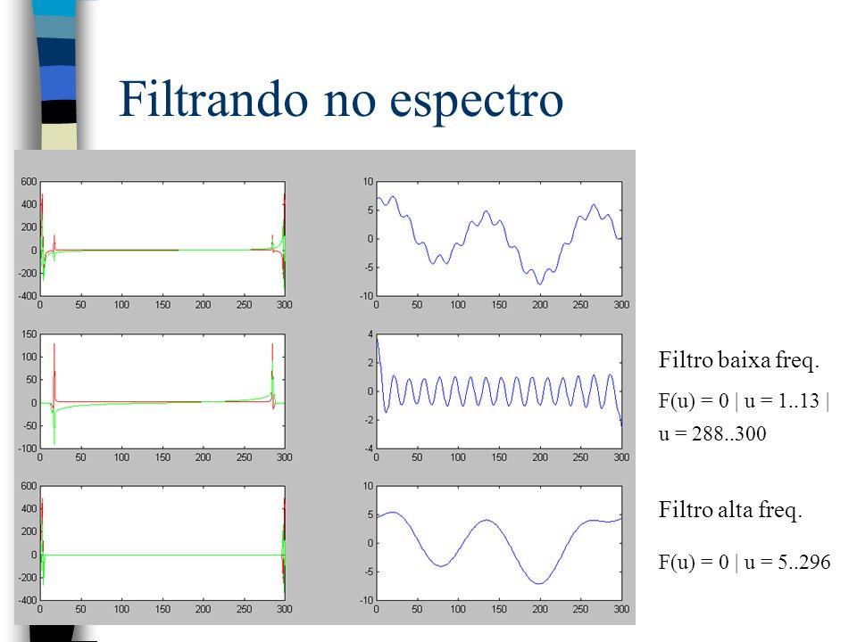 Filtrando no espectro Filtro baixa freq. F(u) = 0   u = 1..13   u = 288..300 Filtro alta freq. F(u) = 0   u = 5..296