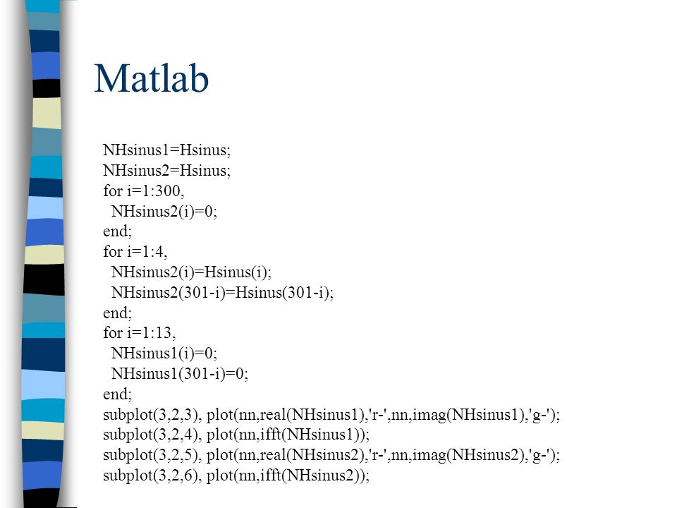 Matlab NHsinus1=Hsinus; NHsinus2=Hsinus; for i=1:300, NHsinus2(i)=0; end; for i=1:4, NHsinus2(i)=Hsinus(i); NHsinus2(301-i)=Hsinus(301-i); end; for i=
