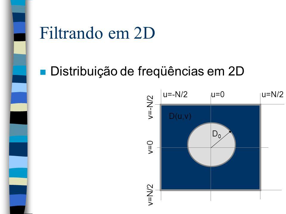 Filtrando em 2D n Distribuição de freqüências em 2D u=-N/2 u=0 u=N/2 v=N/2 v=0 v=-N/2 D0D0 D(u,v)