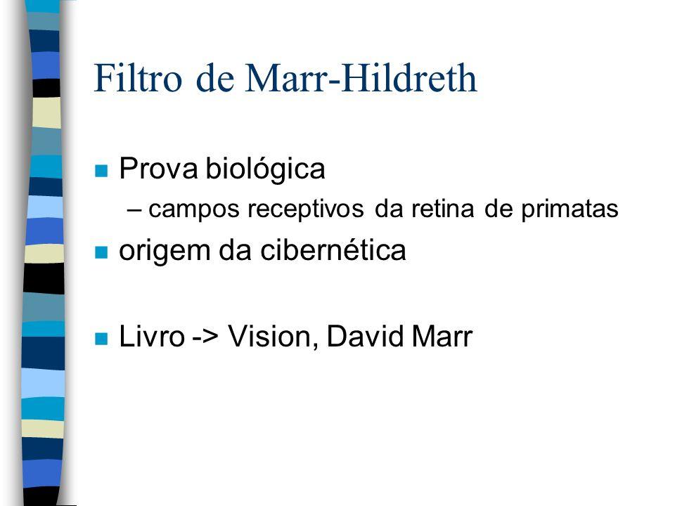 Filtro de Marr-Hildreth n Prova biológica –campos receptivos da retina de primatas n origem da cibernética n Livro -> Vision, David Marr