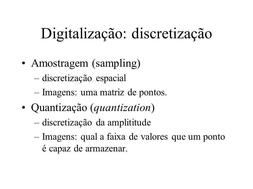 Digitalização Sinal de vídeo analógico é transformado em sinal digital através da discretização do sinal contínuo à taxa fixa.