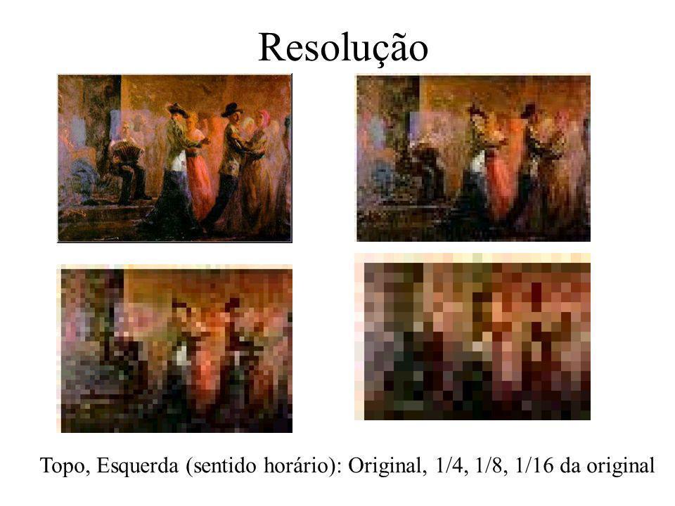 Resolução de freqüência Espacial Resolução: –habilidade em separar dois pixels adjacentes Freqüência espacial: –quão rapidamente o sinal muda no espaço.