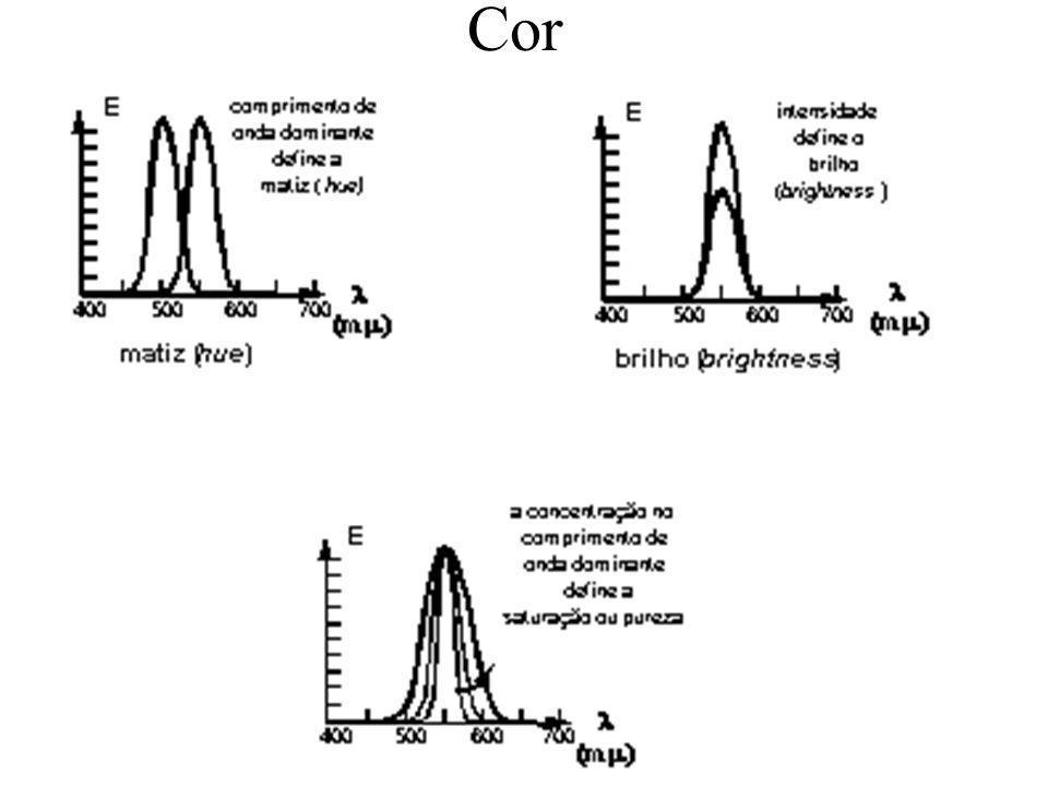 Além da matiz, dois outros fatores caracterizam a cor –intensidade ou brilho (brightness): amplitude do comprimento de onda – saturação (pureza da cor): concentração em torno do comprimento de onda dominante