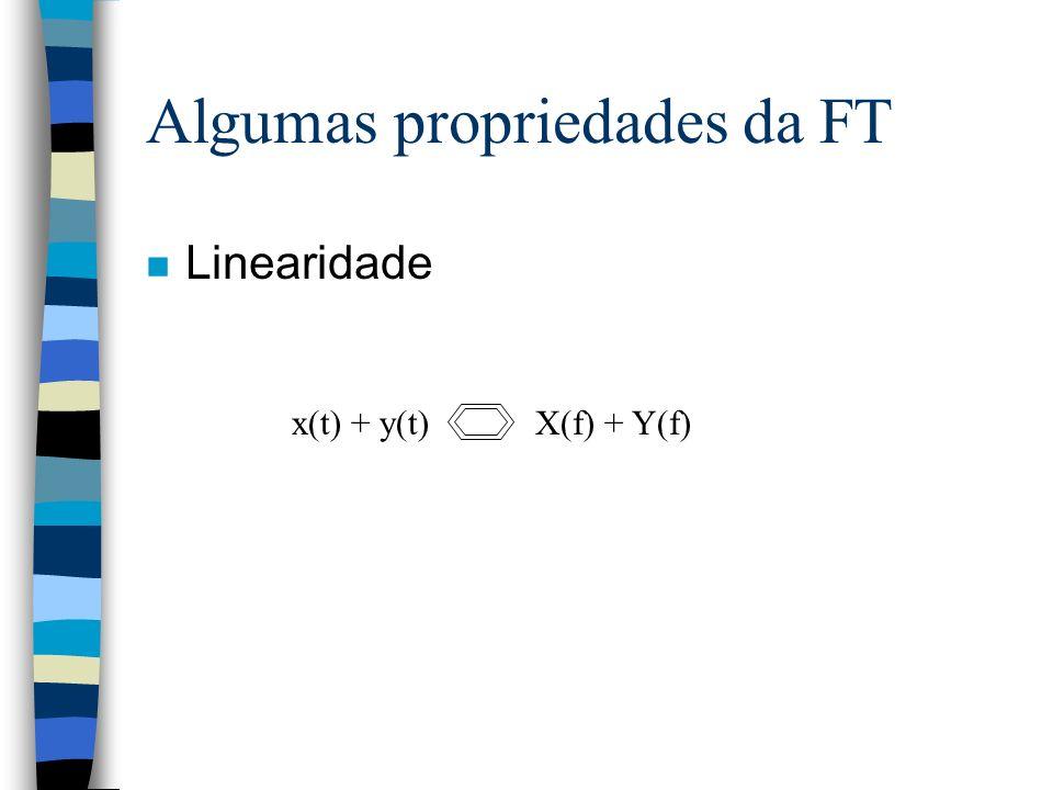 Algumas propriedades da FT n Linearidade x(t) + y(t) X(f) + Y(f)