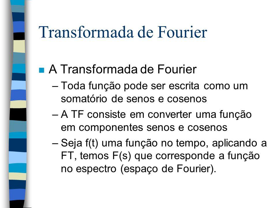 Transformada de Fourier n A Transformada de Fourier –Toda função pode ser escrita como um somatório de senos e cosenos –A TF consiste em converter uma função em componentes senos e cosenos –Seja f(t) uma função no tempo, aplicando a FT, temos F(s) que corresponde a função no espectro (espaço de Fourier).