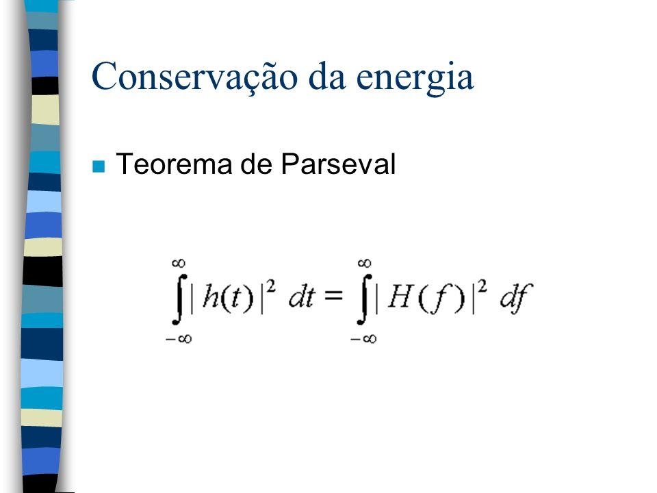 Conservação da energia n Teorema de Parseval