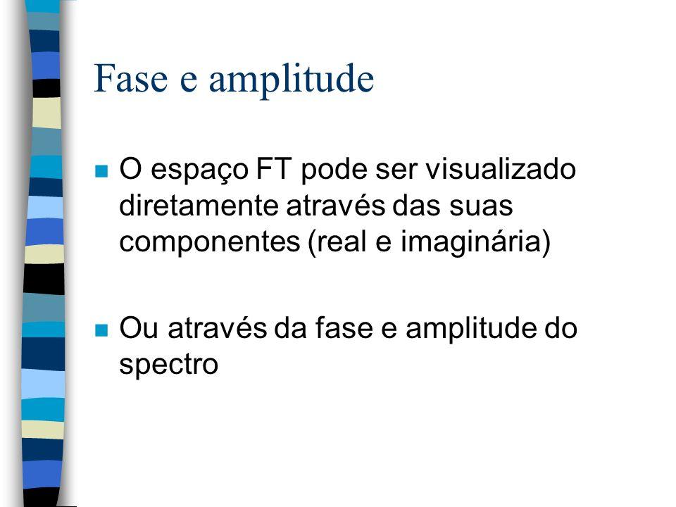 Fase e amplitude n O espaço FT pode ser visualizado diretamente através das suas componentes (real e imaginária) n Ou através da fase e amplitude do spectro