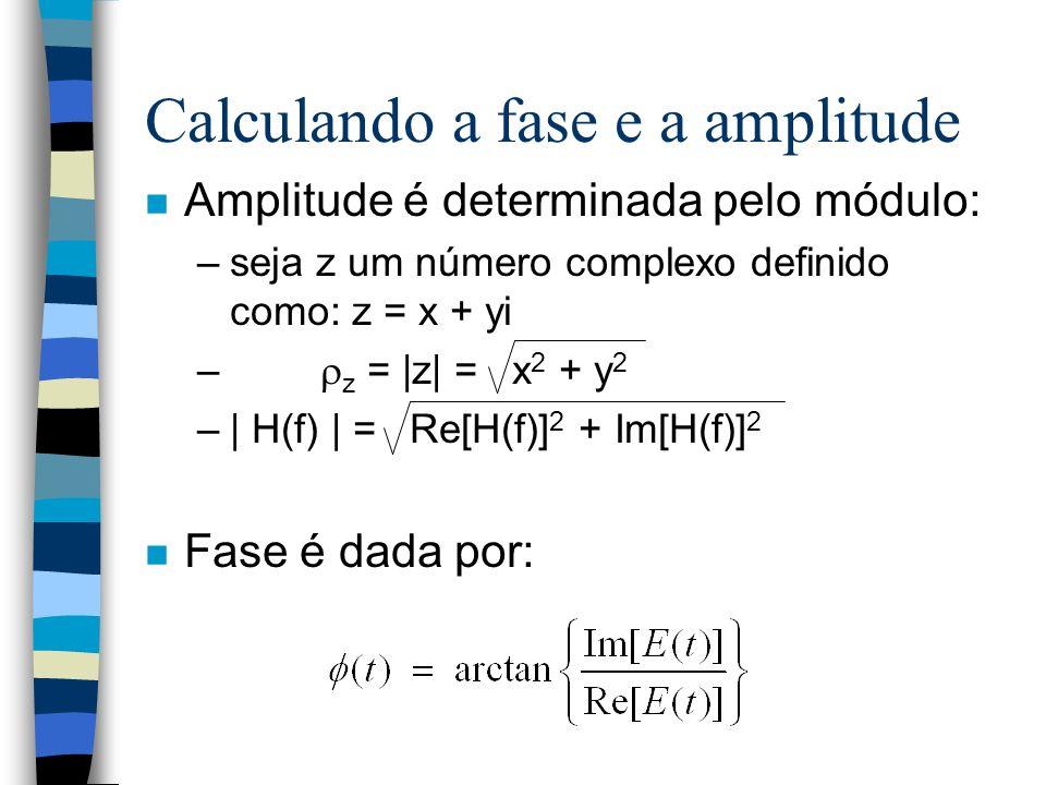 Calculando a fase e a amplitude n Amplitude é determinada pelo módulo: –seja z um número complexo definido como: z = x + yi – z = |z| = x 2 + y 2 –| H(f) | = Re[H(f)] 2 + Im[H(f)] 2 n Fase é dada por: